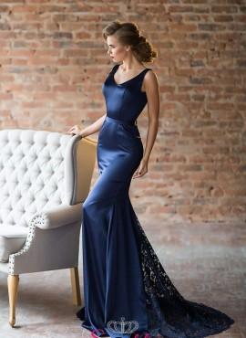 abiti da cerimonia 2018 lunghi colore blu economici colorati
