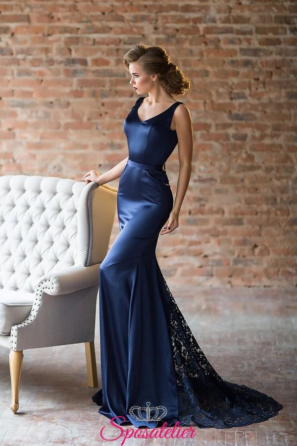 big sale f8232 b777b abiti da cerimonia 2018 lunghi colore blu economici colorati