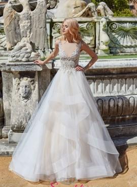 abiti da sposa 2019 anteprima online con corpetto ricamato e gonna a balze