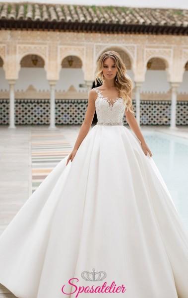 abiti da sposa da principessa con gonna ampia e corpetto di pizzo collezione 2019