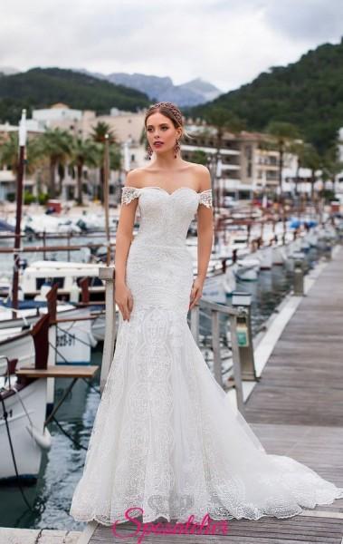 abiti da sposa a sirena in pizzo con scollo a barca 2019