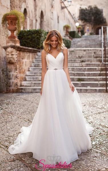 vestito da sposa online con corpetto a cuore e punti luce collezione 2019
