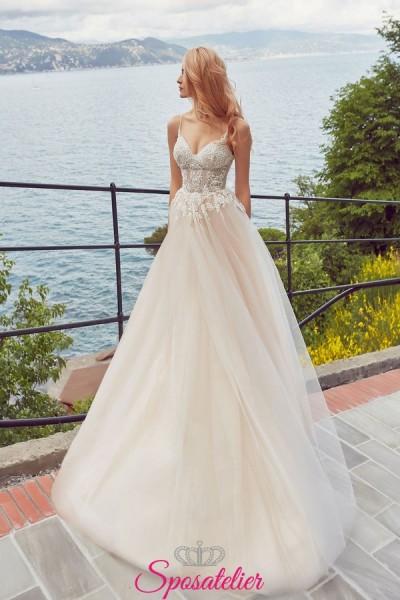 abiti da sposa sfumato 2019 con corpetto ricamato e gonna liscia