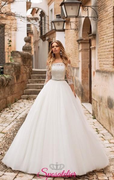 abiti da sposa 2019 con  scollo dritto maniche lunghe di pizzo vendita online