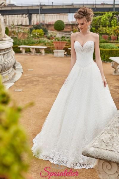 abiti da sposa 2019 da principessa anteprima online con corpetto ricamato