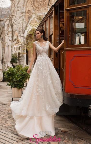 abiti da sposa 2019 con strascico da principessa corpetto di pizzo