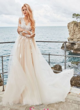 abiti da sposa rosa sfumato con corpetto ricamato in pizzo online