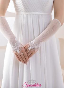 guanti da sposa lunghi on line senza dita con ricamo in pizzo collezione 2019