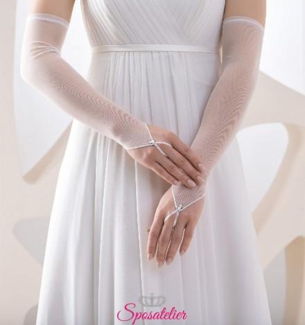 guanti da sposa lunghi semplici senza dita collezione 2019