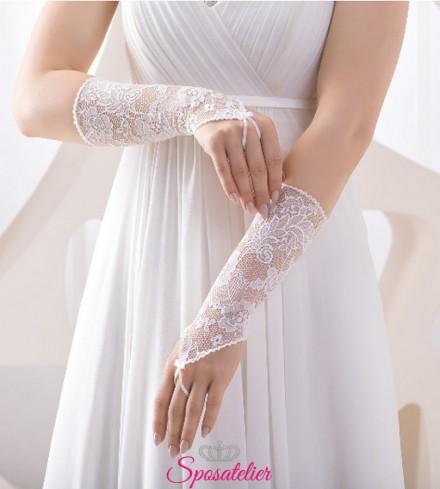 guanti da sposa ricamati in pizzo online senza dita collezione 2019