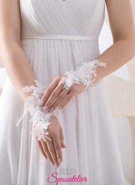 guanti da sposa di tendenza economici online ricamati in pizzo senza dita