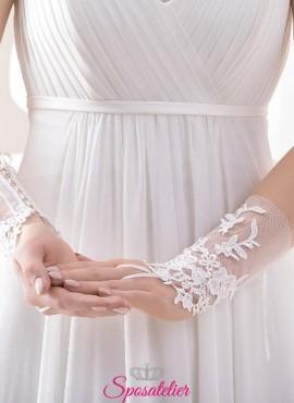 81ad6611cde8 guanti da sposa corti ricamati in pizzo online senza dita collezione 2019