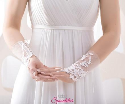 guanti da sposa corti ricamati in pizzo online senza dita collezione 2019