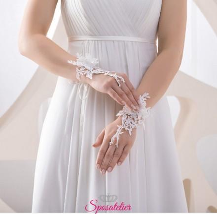 guanti da sposa corti senza dita ricamati in pizzo online collezione 2019