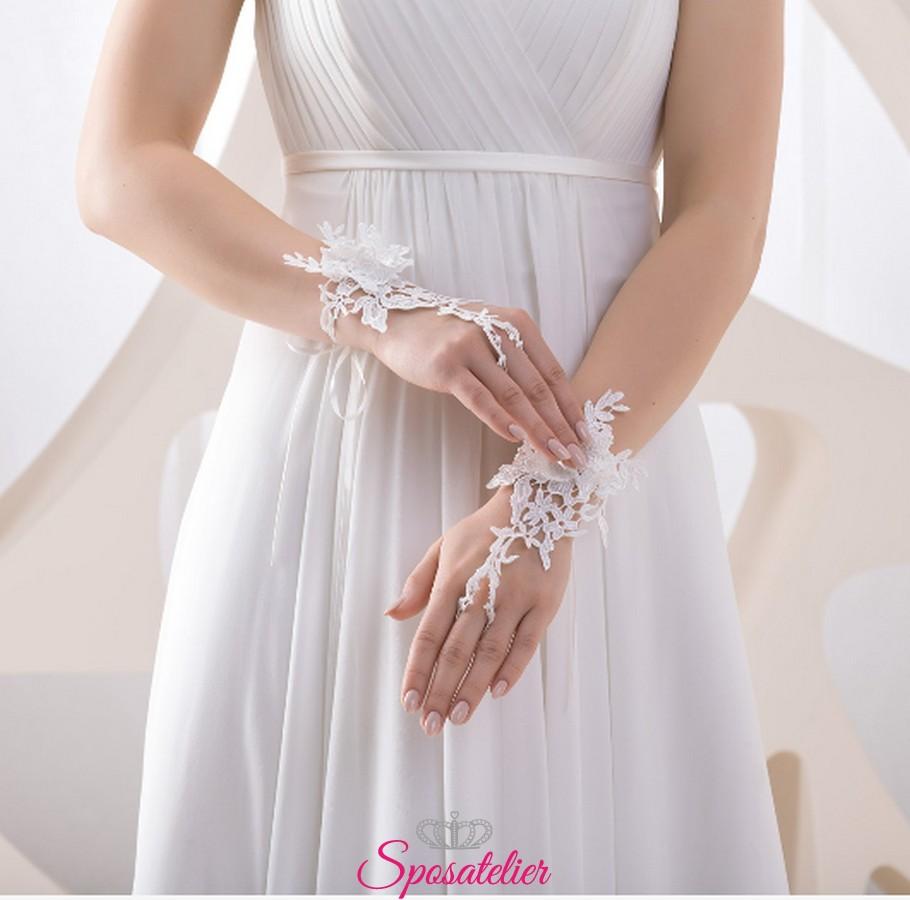 new style 51a81 87579 guanti da sposa corti senza dita ricamati in pizzo online collezione 2019