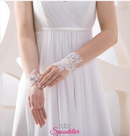 guanti da sposa corti online in pizzo senza dita collezione 2019