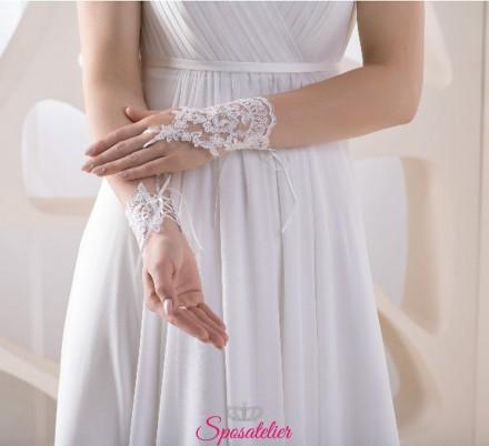 guanti da sposa on line senza dita ricamati in pizzo collezione 2019
