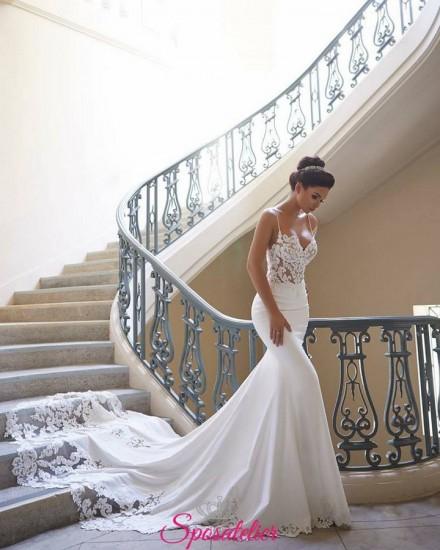 Azalea-abito da sposa a sirena 2019 con corpetto in pizzo e coda