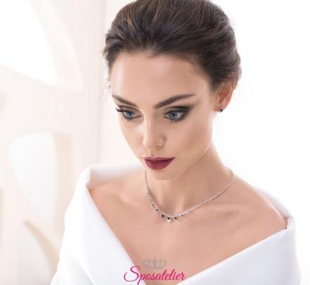 collana con strass da sposa con punti luce collezione 2018 vendita online