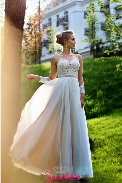 abiti da sposa con manica lunga di tulle e pizzo collezione 2019