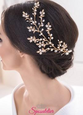 accessorio elegante per acconciatura sposa raccolto online collezione 2018
