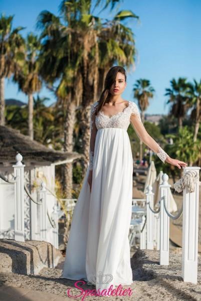 clivia- abito da sposa semplice con maniche lunghe con pizzo collezione 2019