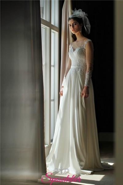 abiti da sposa eleganti e raffinati con manica di pizzo e gonna svasata