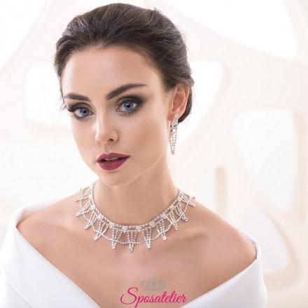 collana da sposa girocollo e orecchini con strass collezione 2018 vendita online