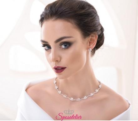 collana da sposa girocollo con orecchini punti luce collezione 2018 vendita online