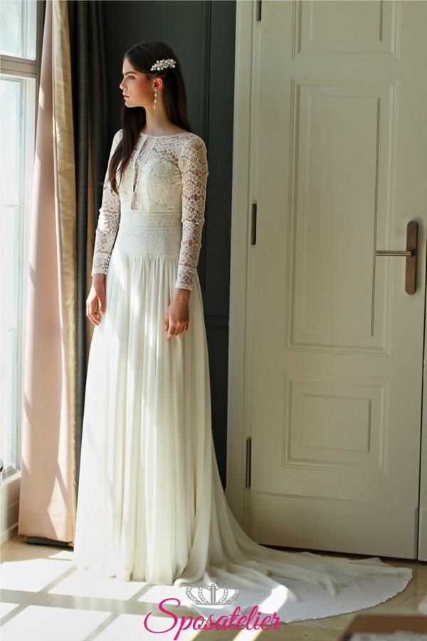 4a54b5b6f0f0 abiti da sposa autunnale con maniche lunghe di pizzo economici collezione  2019