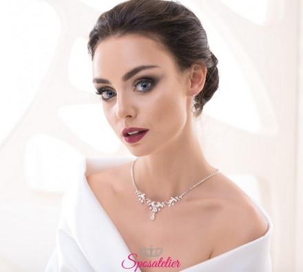 orecchini da sposa pendenti e collana nuova collezione 2019 vendita online