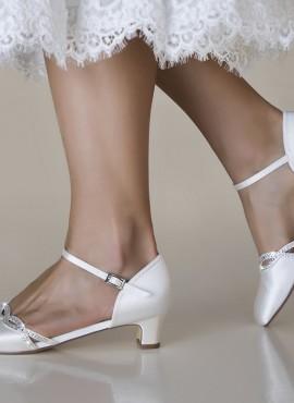 Scarpe sposa on line economiche 2019 colore avorio tacco basso 4 cm