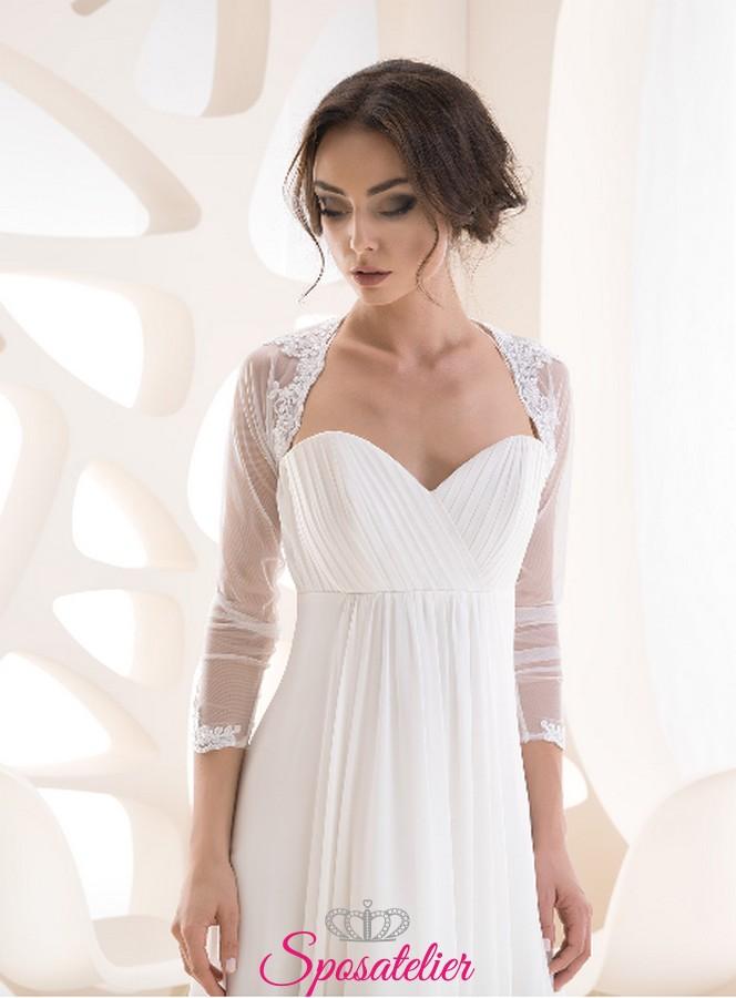 buy popular 9615a 3a22b Coprispalle sposa online economico in tulle stretch con ricami di pizzo  collezione 2019