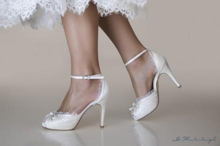 Sandalo sposa 2019 tacco alto 11 cm con fiocco sul davanti e bordi in chiffon