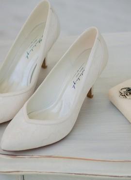 Scarpe sposa comode on line in pizzo tacco medio collezione 2019