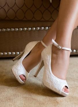 Scarpe sposa on line in pizzo con cinturino alla caviglia staccabile