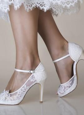Scarpe sposa on line in pizzo con fiore davanti e cinturino alla caviglia collezione 2019