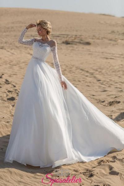 abito da sposa 2019 vendita online con scollo a barchetta e gonna ampia