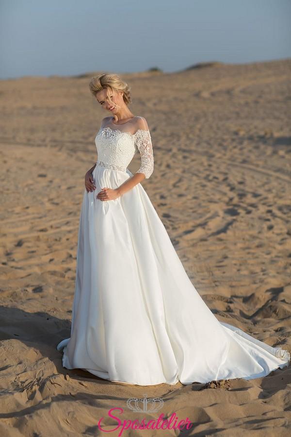on sale b121f ae3ec abito da sposa spiaggia 2019 vendita online con scollo a barchetta