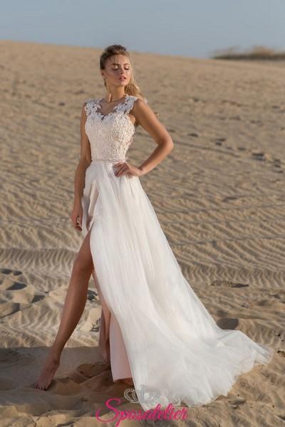 abiti da sposa matrimonio in spiaggia vendita online con spacco