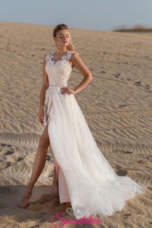 abiti da sposa matrimonio in spiaggia vendita online con spacco c01dd2dfe22