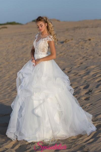 abito da sposa spiaggia con gonna pomposa 2019 vendita online