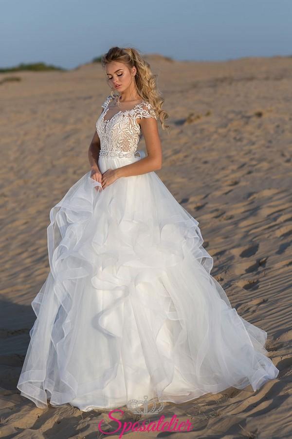 super popular b860f 95020 abito da sposa spiaggia con gonna pomposa 2019 vendita online