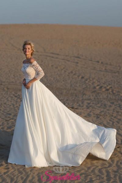 abiti da sposa matrimonio in spiaggia vendita online con scollo a barchetta e gonna ampia