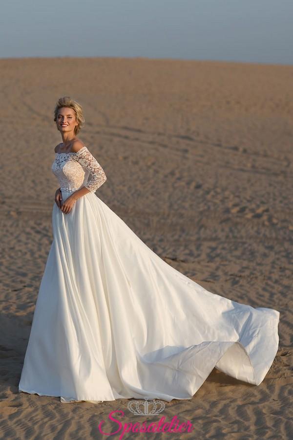 best loved adadc a46a3 abiti da sposa matrimonio in spiaggia vendita online con scollo a barchetta  e gonna ampia