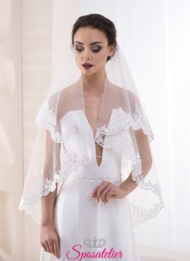 velo da sposa 2019 con orlo di pizzo sartoriale