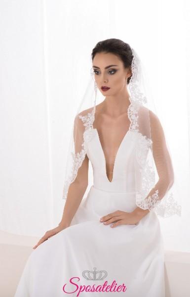 velo da sposa in pizzo corto uno strato collezione 2019 2020