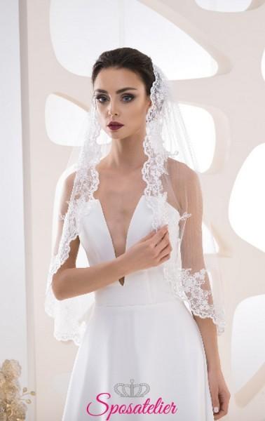 velo sposa davanti al visocon orlo di pizzo collezione 2019