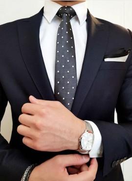 cravatta elegante grigia a pois
