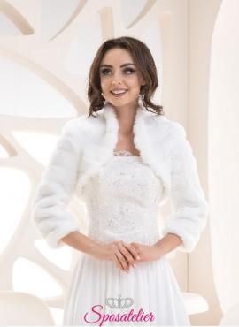 bolero di pelliccia sposa maniche lunghe vendita online